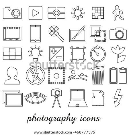 photography and camera theme black simple outline icons set eps10