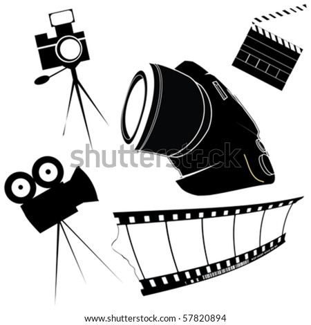 Photography and film making related icons - stock vector