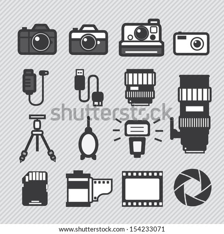 Photography camera lens and accessories set vector icons - stock vector
