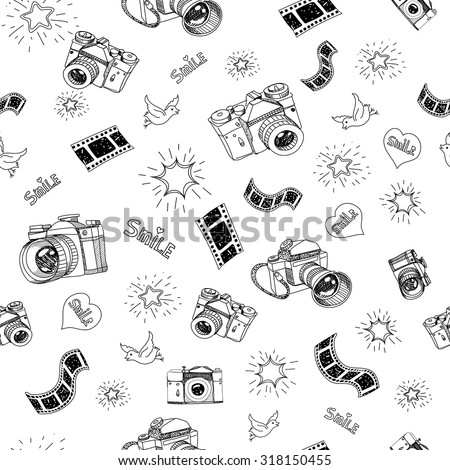 Photography camera sign and symbol doodles hand drawn set  elements vector illustration . - stock vector