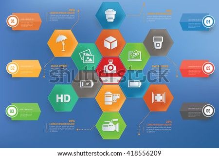 Photography concept info graphic design on blue background,vector