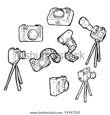 photography equipment cartoon collection - stock vector