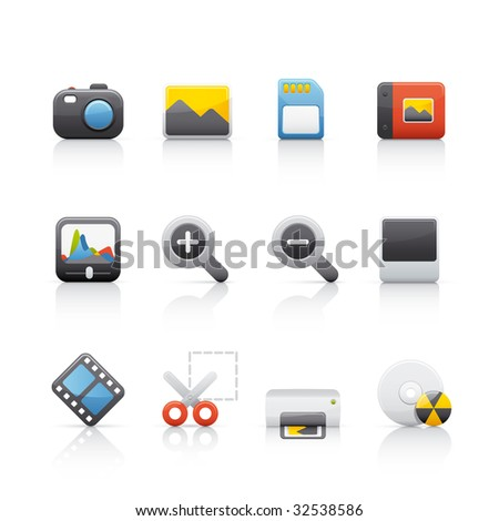 Photography Equipment Icon Set for multiple applications. In Adobe Illustrator EPS 8.