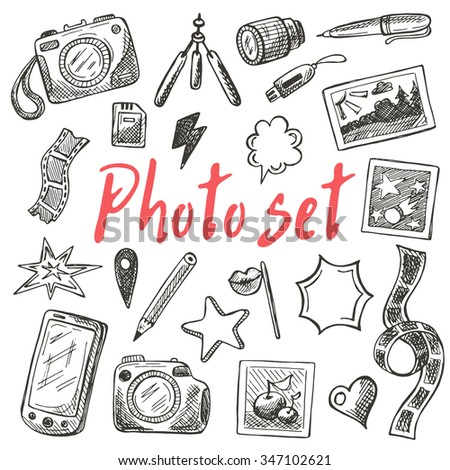 Photography equipment set. Hand drawn vector illustration. Can be used for photography studio. - stock vector