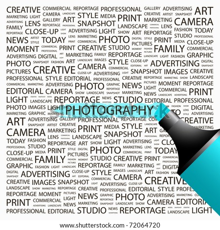PHOTOGRAPHY. Highlighter over background with different association terms. Vector illustration.