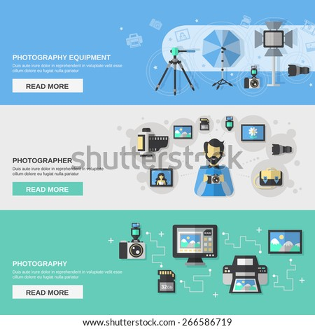 Photography horizontal banner set with photographer equipment flat elements isolated vector illustration - stock vector