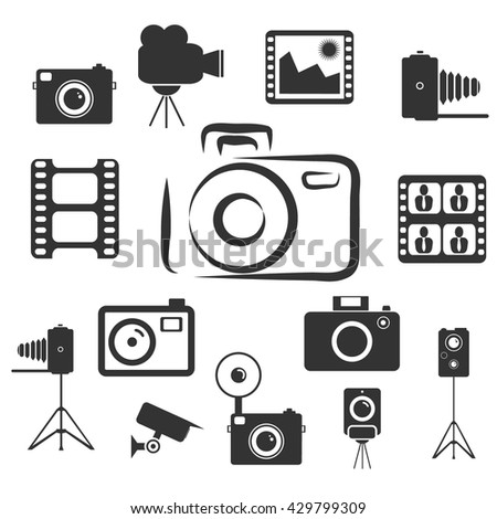 Photography icons and Camera Function Icons. Vector illustration - stock vector