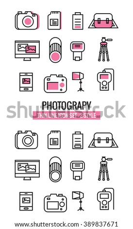 Photography icons. flat thin line design 2 Set. vector eps10 - stock vector