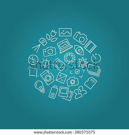 photography icons in circle - stock vector