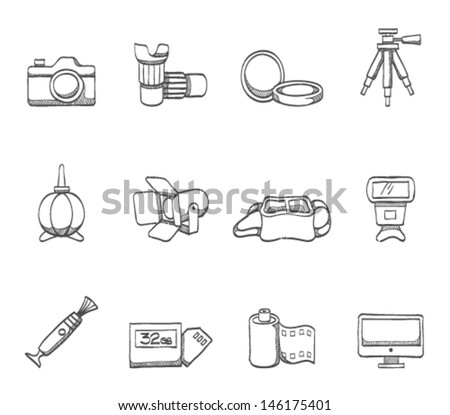 Photography icons in sketch.  - stock vector