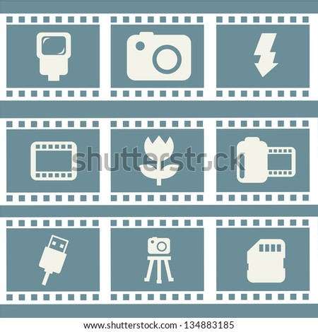 photography icons over blue background. vector illustration - stock vector
