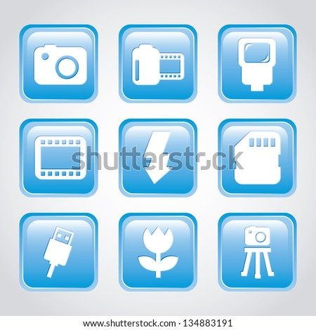 photography icons over gray background. vector illustration - stock vector
