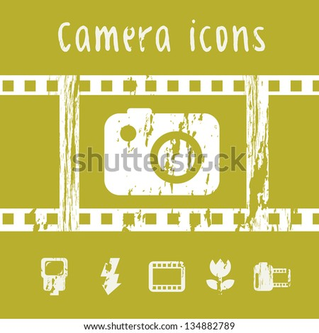 photography icons over green background. vector illustration - stock vector