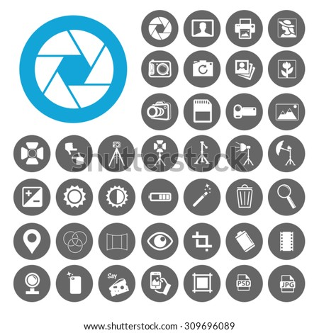 Photography icons set. Illustration EPS10 - stock vector