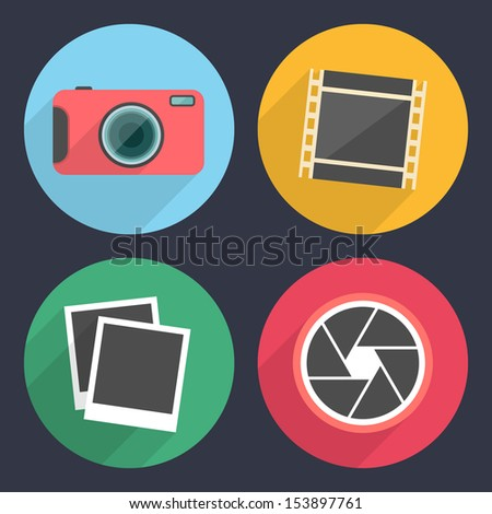 Photography icons with long shadow. Set 2 - stock vector