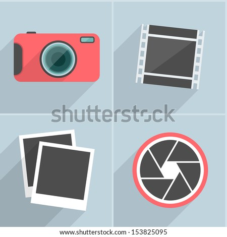 Photography Icons With Long Shadow. Vector Illustration. - stock vector