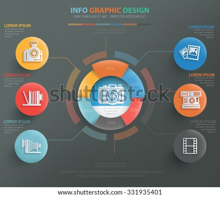 Photography info graphic design, clean vector - stock vector