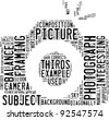 photography info-text (cloud word) composed in the shape of a generic camera on white background - stock photo