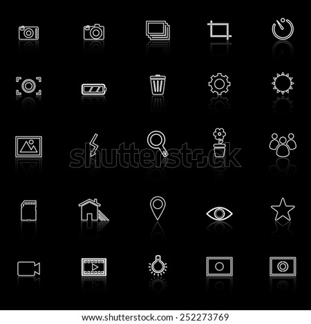 Photography line icons with reflect on black background, stock vector - stock vector