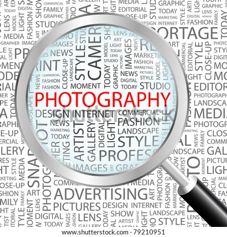 PHOTOGRAPHY. Magnifying glass over background with different association terms. Vector illustration.
