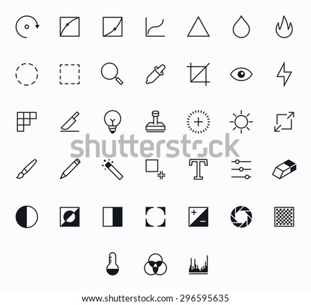 Photography Outline vector icons for web and mobile. Thin 2 pixel stroke - stock vector