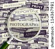 Photography. Seamless backdrop and magnifying glass. - stock vector