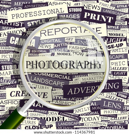 Photography. Seamless backdrop and magnifying glass.