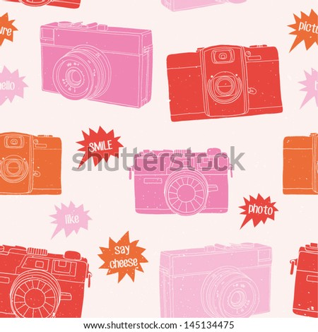 Photography seamless pattern. Hand drawn photo cameras background in bright color. Vector illustration - stock vector