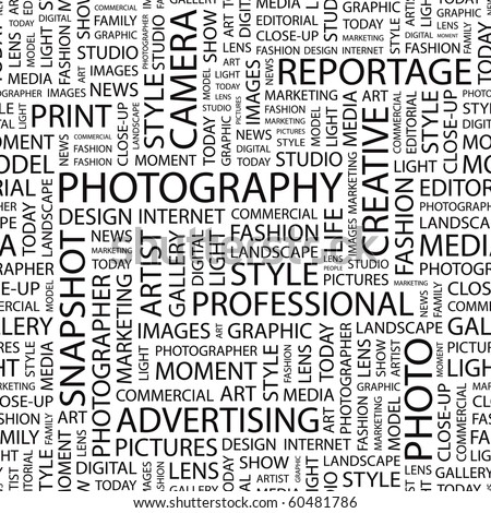 PHOTOGRAPHY. Seamless vector pattern with word cloud. Illustration with different association terms.
