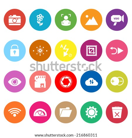 Photography sign flat icons on white background, stock vector