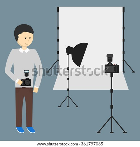 Photography Studio with a Light Set Up