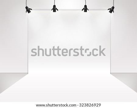 photography studio with lighting equipment and backdrop vector - stock vector