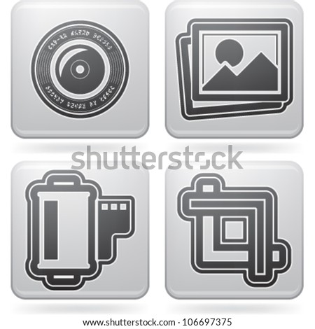 Photography tools & equipment icons set, pictured here from left to right:  Camera lens, Pictures, Photo icon, Film strip, Camera film, Crop Tool. - stock vector