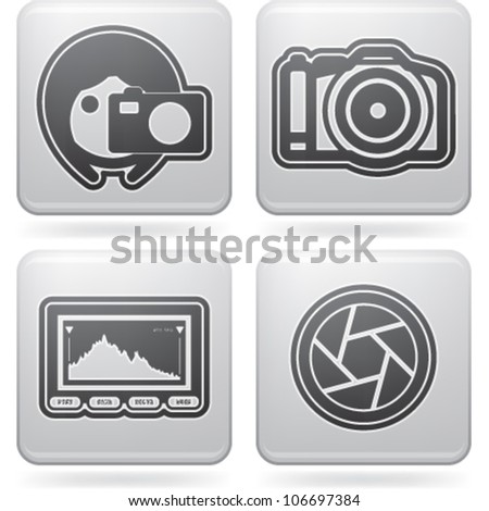 Photography tools & equipment icons set, pictured here from left to right:  Woman photography, Professional Camera (DSLR), Histogram, Shutter.