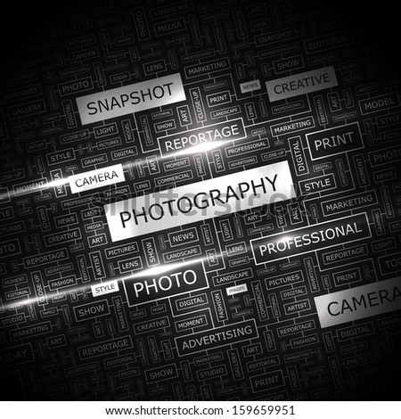 PHOTOGRAPHY. Word cloud illustration. Tag cloud concept collage. Vector illustration.  - stock vector
