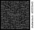 PHOTOGRAPHY. Word collage on black background. Illustration with different association terms. - stock photo