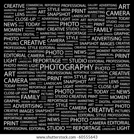 PHOTOGRAPHY. Word collage on black background. Illustration with different association terms. - stock vector