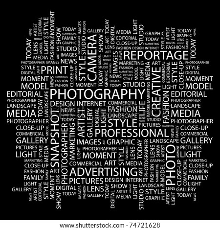 PHOTOGRAPHY. Word collage on black background. Vector illustration. Illustration with different association terms.