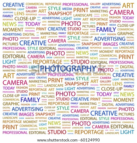 PHOTOGRAPHY. Word collage on white background. Illustration with different association terms. - stock vector