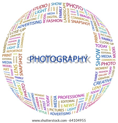 PHOTOGRAPHY. Word collage on white background. Illustration with different association terms.
