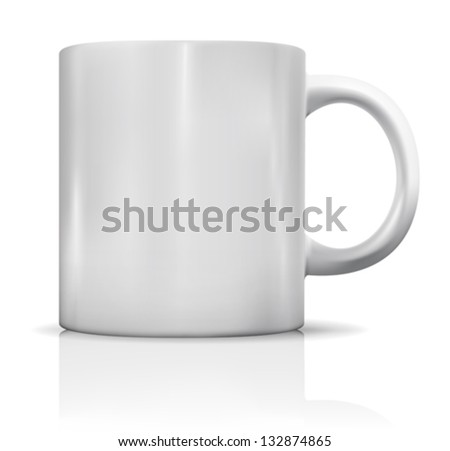 Photorealistic blank white cup with reflection. Vector illustration - stock vector