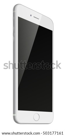 Photorealistic smart phone with black screen isolated on white background. Vector illustration. EPS10.