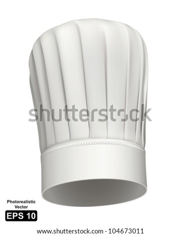 Photorealistic vector illustration of a white tall chef hat on white background - stock vector