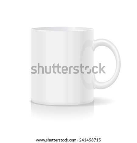 photorealistic white blank cafe cup isolated  with shadow - stock vector