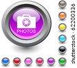 Photos metallic vibrant round icon. - stock photo