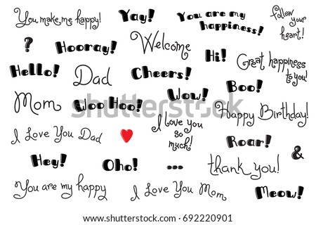 Phrases interjections exclamation words cover poster stock photo phrases interjections and exclamation words for for cover poster t shirt m4hsunfo