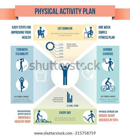 Physical activity plan - stock vector