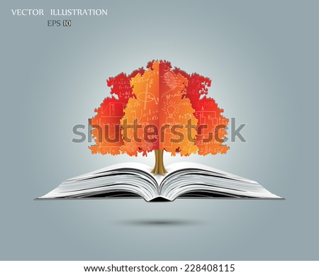 Physical concept, orange, paper tree from the mathematical equations and formulas, growing from an open-book, vector illustration modern template design  - stock vector