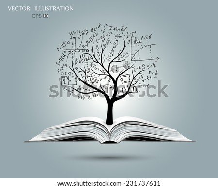 Physical concept,  tree from the mathematical equations and formulas, growing from an open-book, vector illustration modern template design - stock vector