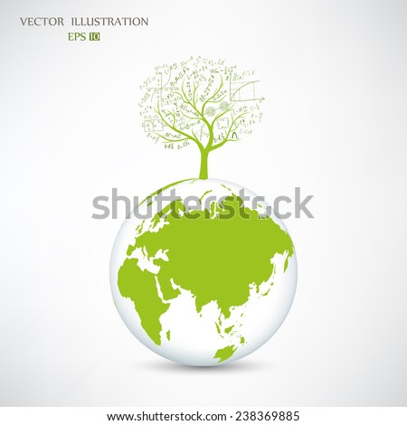 Physical concept, tree from the mathematical equations and formulas, growing from on globe, vector illustration modern template design
